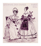 1836 fashion, French magazine Journal des dames, two ladies fanc. French 1836 fashion; two young ladies fancy dressed with hat and haido sitting indoors in the royalty free illustration