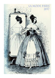 1837 fashion, French magazine La Mode, lady fancy dressed. French 1837 fashion, young lady elegant dressed for an evening and mirror reflecting the fancy dress Royalty Free Stock Image