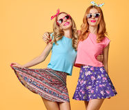 Fashion Funny girl Crazy Having Fun, Dance.Friends Stock Image