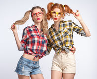 Fashion Funny girl Crazy Having Fun. Fish Face Royalty Free Stock Photos