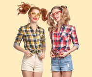 Free Fashion Funny Girl Jump Crazy Having Fun. Nerd Royalty Free Stock Photography - 83590147