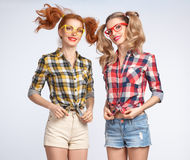 Fashion Funny girl Jump Crazy Having Fun. Nerd Stock Photography
