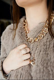 Fashion fur coat and jewellery Royalty Free Stock Image