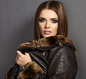 Fashion fur portrait. Young mode Stock Photo
