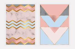 Fashion geometric design with rose gold foil and marble texture. Modern background for card, celebration, flyer, social media, ban. Ner, poster, invitation royalty free illustration