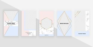 Fashion geometric templates for instagram stories, social media, flyers, card, poster, banner. Modern cover design with foil and m. Arble texture, lines stock illustration