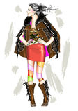 Fashion girl. Vector illustration of fashion girl wearing beautiful furry leather coat and funky leather boots royalty free illustration