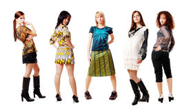 Fashion girl. A group of cheerful beautiful young fashion girl Royalty Free Stock Images
