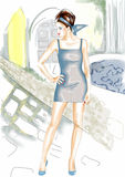 Fashion girl. Digital watercolor girl,handdrawn,artistic vector illustration