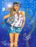 Fashion  girl. Raster image of a beautiful girl on the background  of sea water Stock Photo