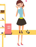 Fashion girl. A pretty model dress in red clothes  to shopping or party Stock Images