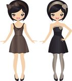Fashion Girl. Cute dolls wearing evening dresses Stock Images