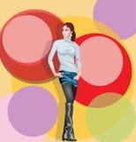 Fashion girl. Standing with short skirt vector illustration