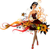 Fashion  girl. Drawing of a fashion girl on the flowers wave Stock Image