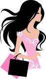 Fashion girl. Beautiful fashion  girl with bags Stock Images