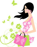 Fashion girl. Beautiful girl on floral background Stock Images