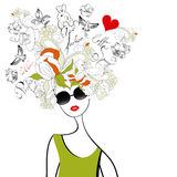 Fashion girl. With original hair Stock Images