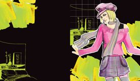 Fashion girl. Drawing  fashion girl on a  water-colour background Royalty Free Stock Images