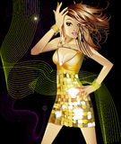 Fashion girl. Illustration of a pretty girl  on a black creative background Royalty Free Stock Images