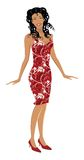 Fashion Girl. Detaily illustrated fashion girl with nice dress and high heels Stock Images