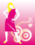 Fashion girl. Beautiful pink girl with blond hair Royalty Free Stock Photography