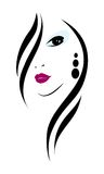 Fashion girl. Silhouette of a womans head on a white background Stock Photography