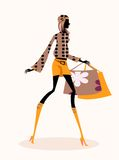 Fashion girl. Pretty illustration of  delicate fashion girls Stock Image