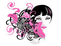 Fashion girl. Pretty illustration of  delicate fashion girl Stock Images