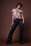 Fashion girl. Fashion portrait of beautiful young brunette girl Stock Photography