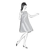 Fashion girl (60s style): Retro fashion party vector illustration