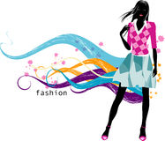 Fashion  girl. Art vector   illustration of a fashion girl silhouette on the creative background Royalty Free Stock Images