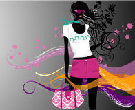 Fashion  girl. Art    illustration of a fashion girl silhouette on the creative background Royalty Free Stock Photo