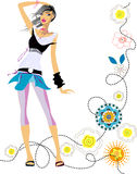 Fashion  girl. Art vector   illustration of a fashion girl silhouette on the creative background with flowers Royalty Free Stock Photo