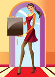 Fashion girl with advertisement board Stock Photos