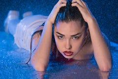 Fashion girl in aqua studio Stock Photos