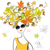 Fashion girl with autumn hair. Universal template for greeting card, web page, background Royalty Free Stock Photos