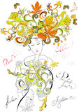 Fashion girl with autumn hair. Universal template for greeting card, web page, background Stock Photos