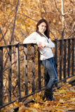 Fashion girl in autumn park Stock Photography