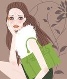 Fashion girl with bag Royalty Free Stock Image