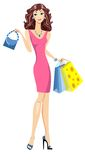 Fashion girl with bags. Royalty Free Stock Photo