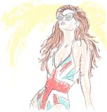 HIPSTER Fashion girl in a bathing suit and sunglas Royalty Free Stock Photography