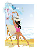 Fashion girl on the beach. Stock Image