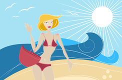 Fashion girl on the beach vector Royalty Free Stock Photo