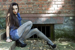 Fashion girl. Beautiful girl in sparkly tights Royalty Free Stock Image