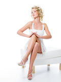 Fashion girl with beauty legs stock image