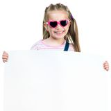 Fashion girl  behind a white board Royalty Free Stock Photography