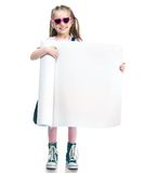 Fashion girl  behind a white board Royalty Free Stock Image