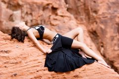 Fashion girl in belly dance dress Stock Photography