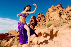 Fashion girl in belly dance dress Stock Images