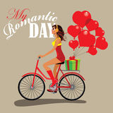 Fashion girl on bicycle, romantic day, give gifts, present heart. Vector illustration of poster fashion girl on bicycle, romantic day, give gifts, present heart Stock Image